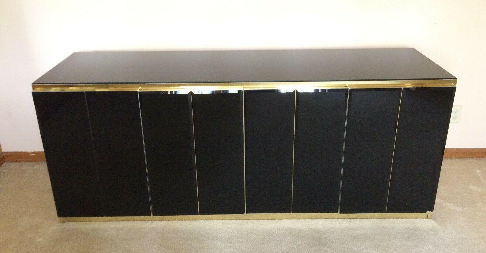 Ello: Credenza * Early Black Glass & Brass Design * 4 Door * Very Good Condition Intended For Current Kieth 4 Door Credenzas (View 16 of 20)