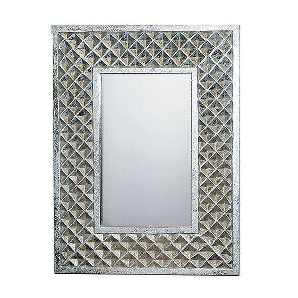 Essential Decor & Beyond Carved Frame Silver Accent Mirror Regarding Silver Frame Accent Mirrors (#9 of 20)