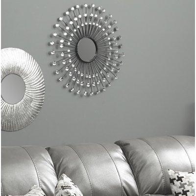 Estrela Modern Sunburst Metal Wall Mirror Intended For Estrela Modern Sunburst Metal Wall Mirrors (#6 of 20)