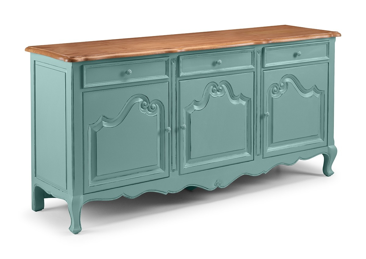 Etienne French Turquoise 3 Door Sideboard Pertaining To Recent Etienne Sideboards (#2 of 20)