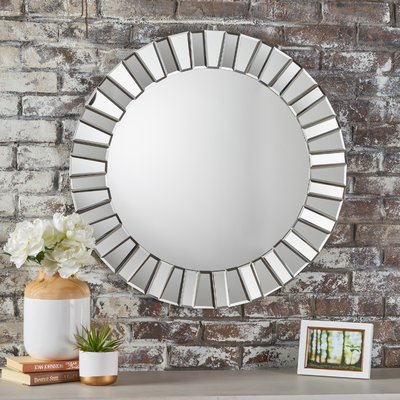 Everly Quinn Teshia Wall Mirror | Products | Contemporary Regarding Caja Rectangle Glass Frame Wall Mirrors (#10 of 20)