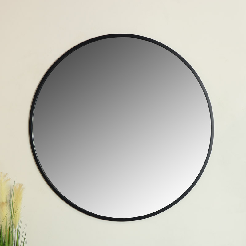 Extra Large Round Black Wall Mirror 120Cm X 120Cm Intended For Industrial Modern & Contemporary Wall Mirrors (#5 of 20)