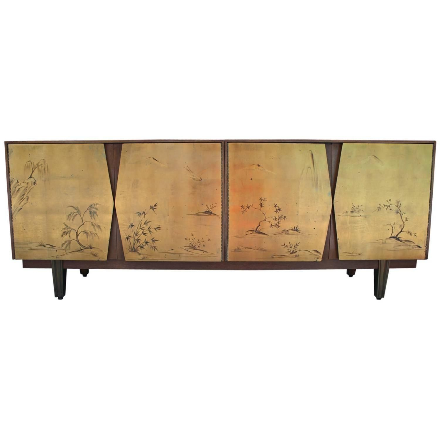 Fabulous Two Tone Gold Leaf Sideboard With Asian Motifs Inside Current Stephen Credenzas (View 14 of 20)