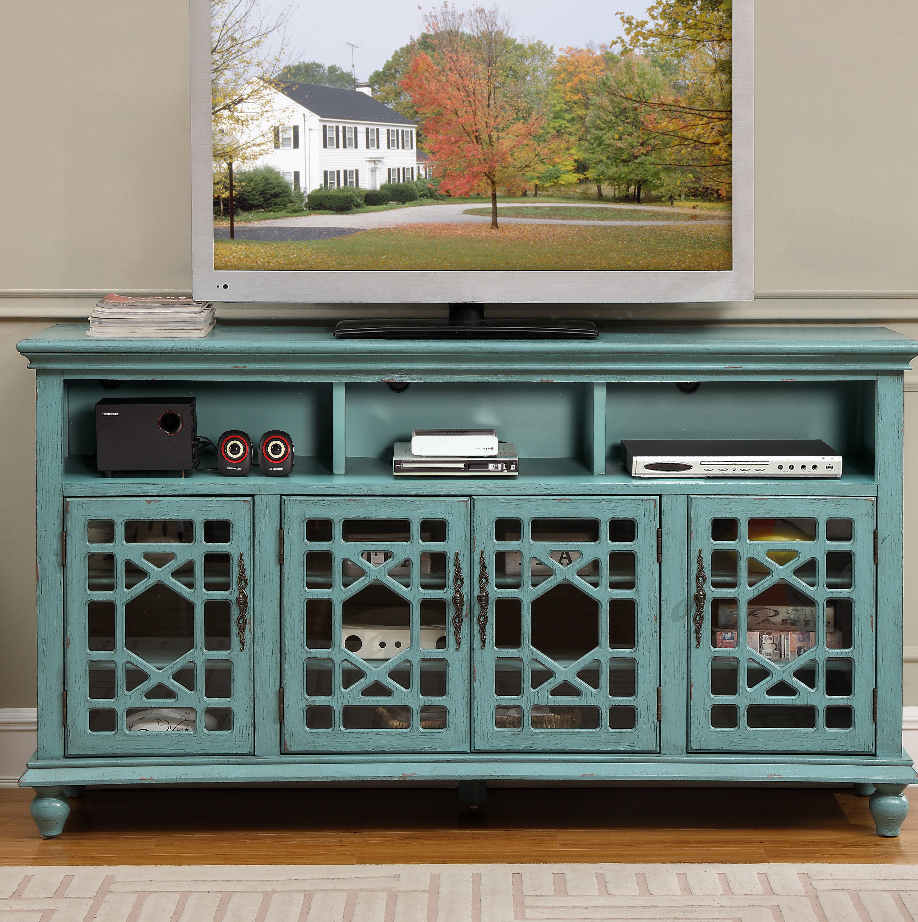 Farmhouse & Rustic Distressed Finish Sideboards & Buffets With Regard To Latest Deville Russelle Sideboards (#6 of 20)