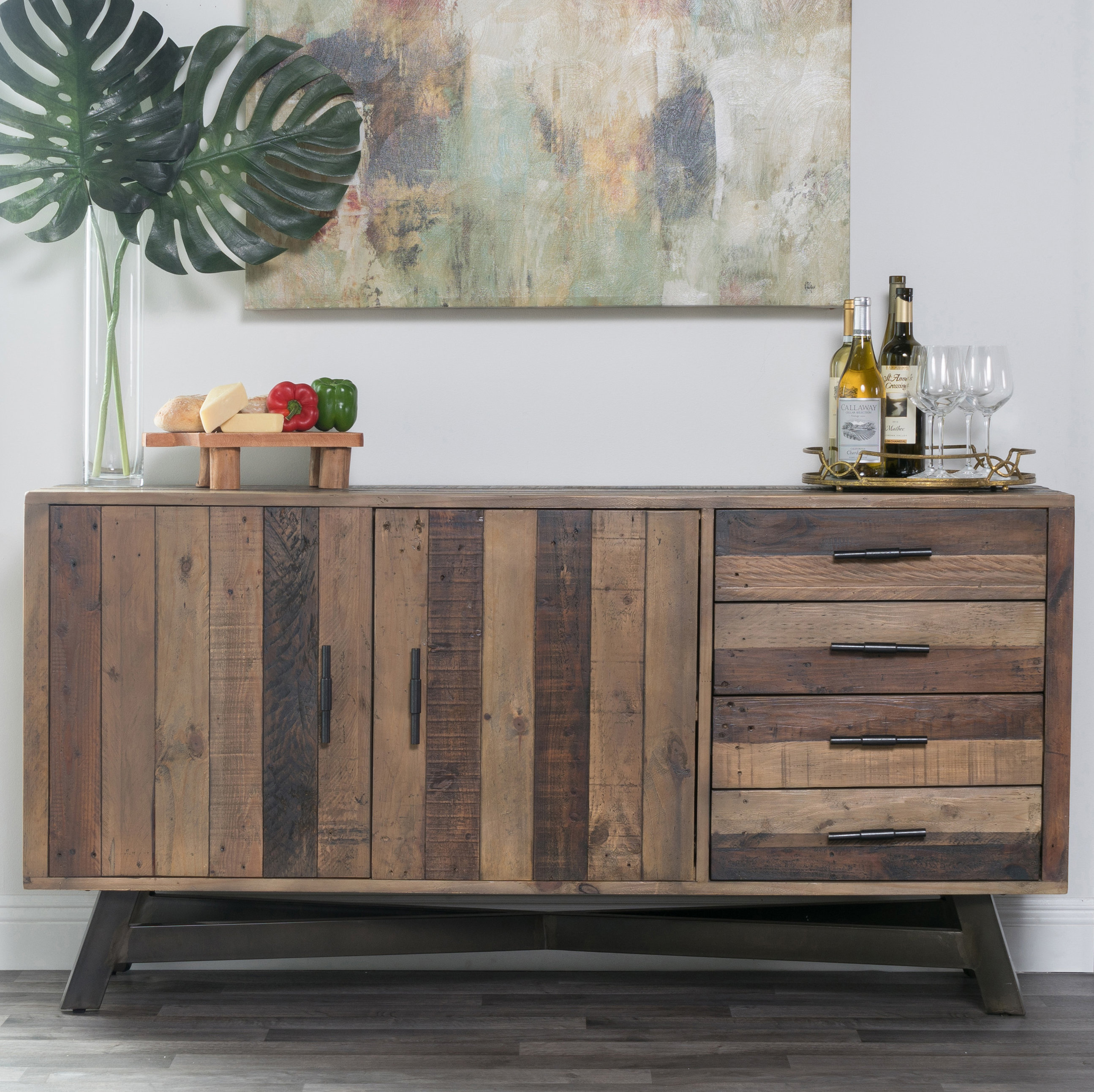 Farmhouse & Rustic Medium Brown Wood Sideboards & Buffets With Regard To 2018 Chaffins Sideboards (#9 of 20)