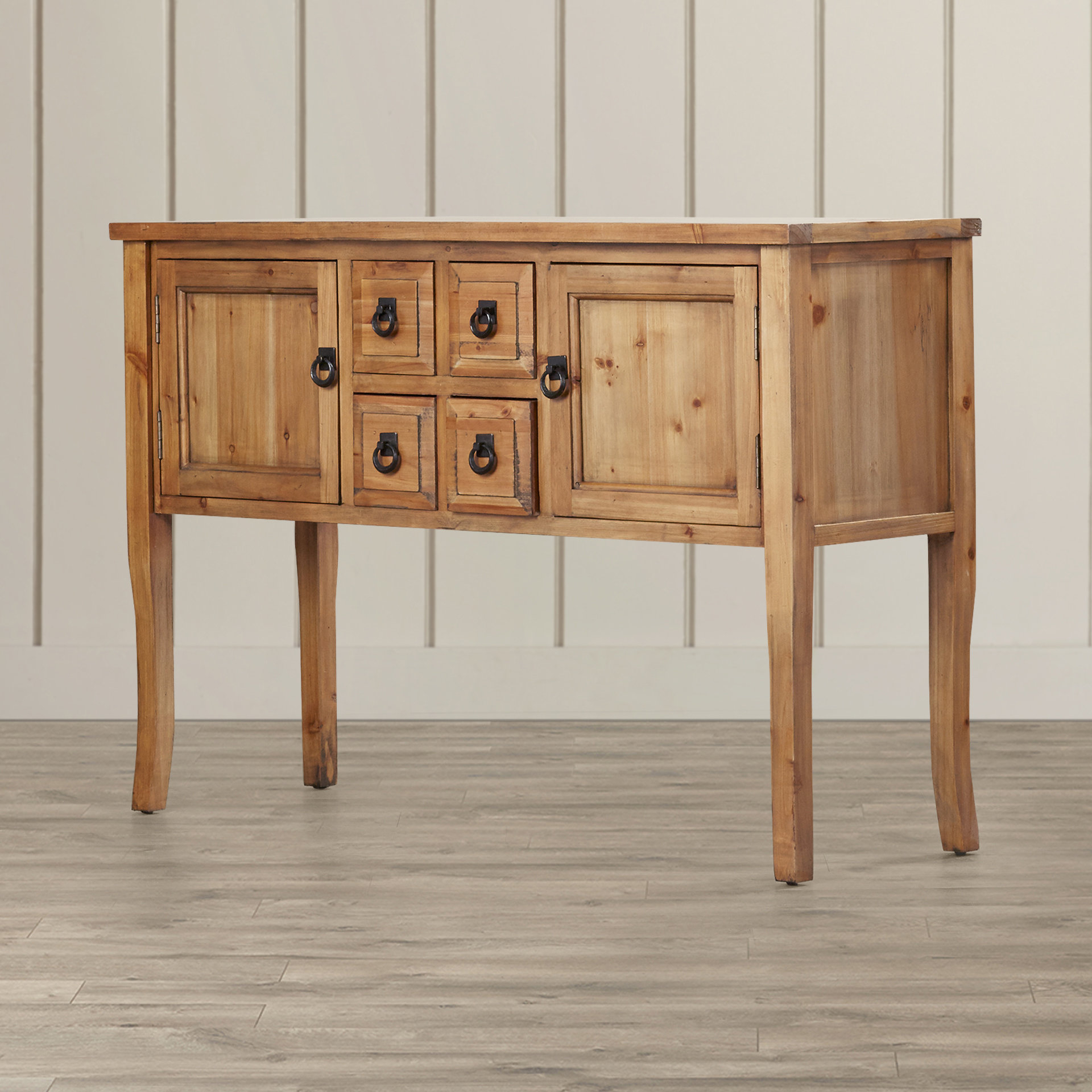 Farmhouse & Rustic Medium Yellow Wood Sideboards & Buffets Throughout Current Sayles Sideboards (#5 of 20)