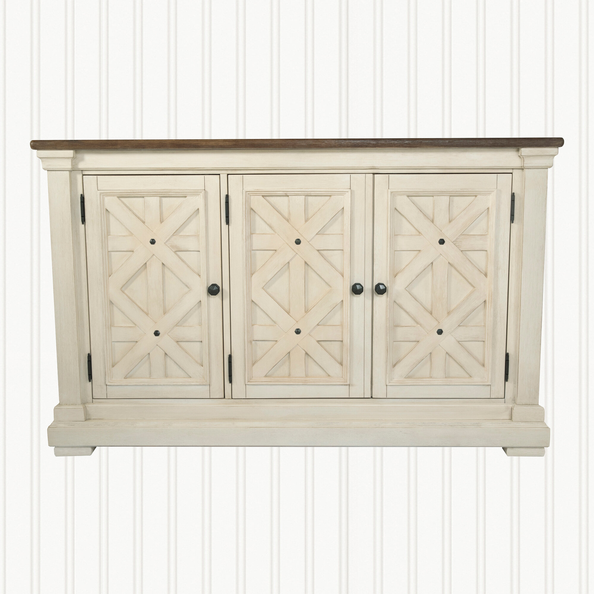 Farmhouse & Rustic White Wood Sideboards & Buffets | Birch Lane Throughout 2018 Baleine 3 Drawer Sideboards (#9 of 20)