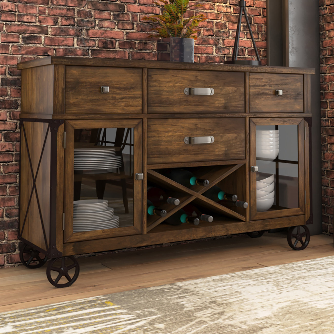 Farmhouse & Rustic Wine Glass Storage Equipped Sideboards With Latest Nashoba Sideboards (#5 of 20)