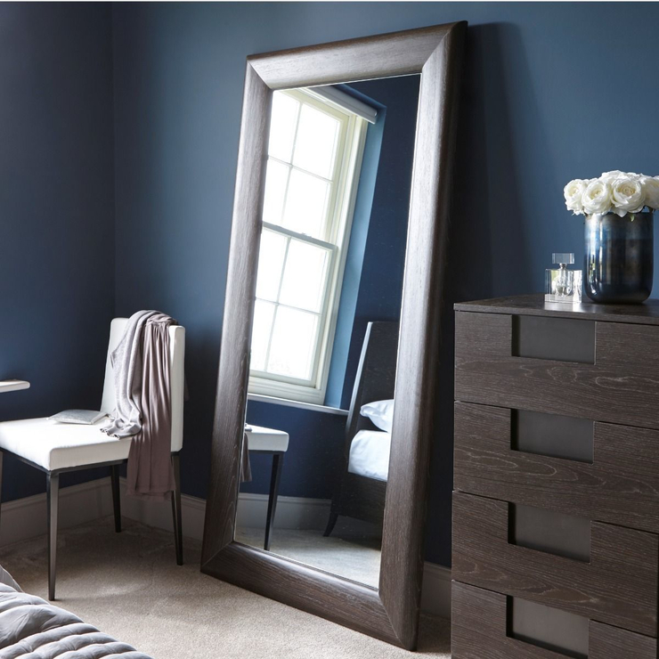 Fitzroy Wall Leaning Mirror Full Height In Charcoal Wenge Finish With Leaning Mirrors (#8 of 20)