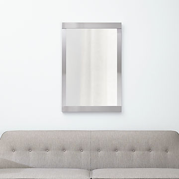 Floor, Wall And Over The Door Mirrors | Crate And Barrel Regarding Rectangle Pewter Beveled Wall Mirrors (#6 of 20)