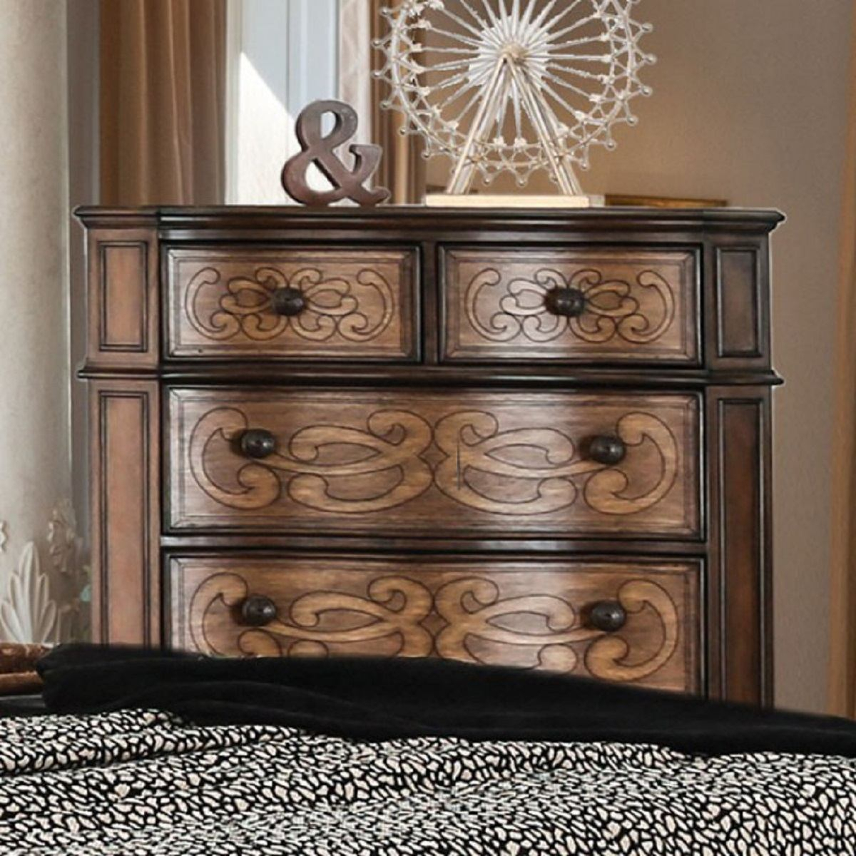 Furniture Of America Emmaline 6 Drawer Chest In Warm Chestnut Cm7831C Within Newest Emmaline Sideboards (#11 of 20)