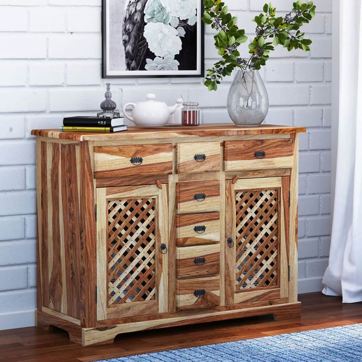 Galena Rustic Solid Wood Lattice Door 7 Drawer Sideboard Inside Most Recent Courtdale Sideboards (#13 of 20)