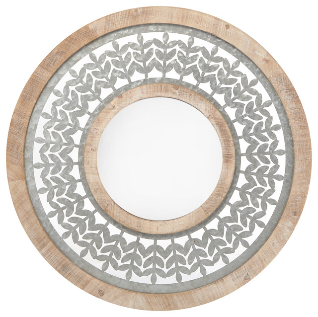 Inspiration about Galvanized Metal Leaf And Wooden Frame Round Mirror, Gray And Brown With Round Galvanized Metallic Wall Mirrors (#12 of 20)