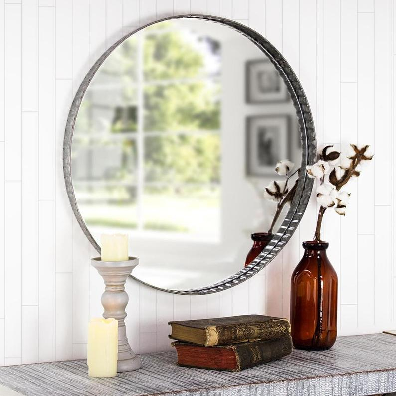 Inspiration about Galvanized Metal Round Wall Mirror – Farmhouse Industrial Galvanized Metal  Round Wall Mirror – Metalwork Edges Round Wall Mirror Etsy Mirror Inside Round Galvanized Metallic Wall Mirrors (#17 of 20)
