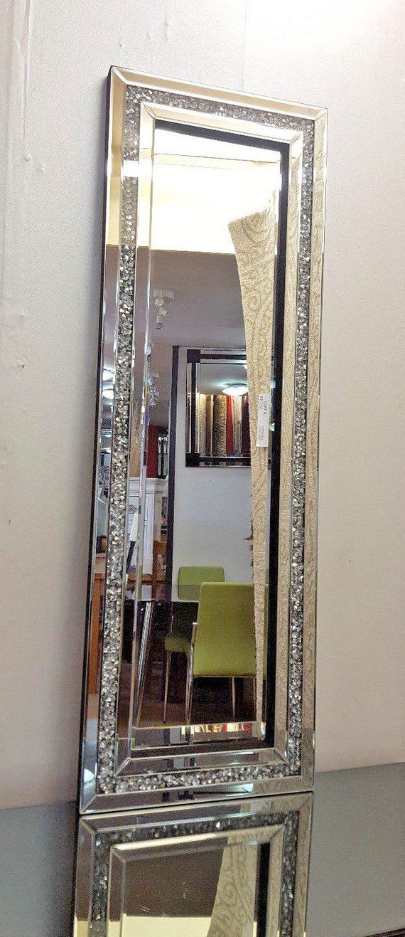 Gatsby Crushed Diamond Crystal Glass Silver Frame Bevelled Throughout Boyers Wall Mirrors (#14 of 20)