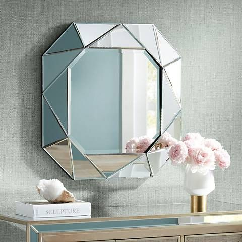 "Inspiration about Geometric 29"" X 29"" Angle Cut Glass Wall Mirror In 2019 Inside Trigg Accent Mirrors (#17 of 20)"