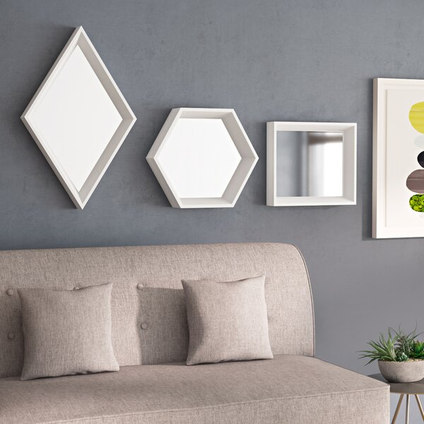 Inspiration about Geometric Mirror Set | Wayfair Pertaining To 2 Piece Priscilla Square Traditional Beveled Distressed Accent Mirror Sets (#16 of 20)