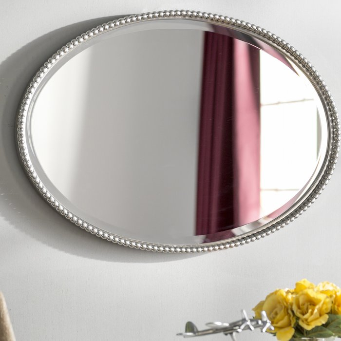 Glen View Beaded Oval Traditional Accent Mirror Pertaining To Oval Metallic Accent Mirrors (View 13 of 20)