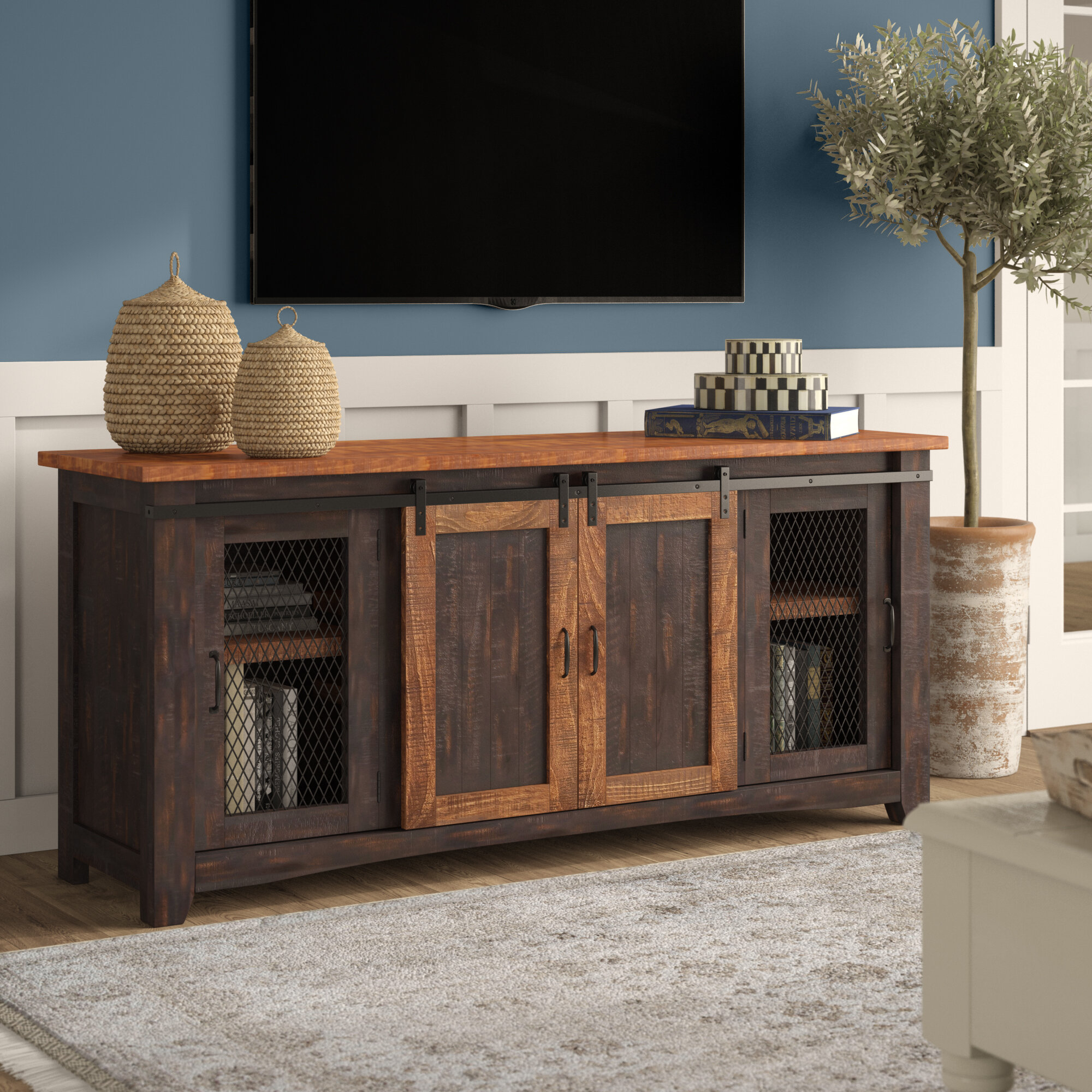 """Inspiration about Gracie Oaks Belen Tv Stand For Tvs Up To 70"""" Pertaining To Most Popular Colefax Vintage Tv Stands For Tvs Up To 78"""" (#10 of 20)"""