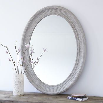 Grand Grey Oval Wooden Wall Mirror | Mirror | Vanity Wall Inside Oval Wood Wall Mirrors (#8 of 20)