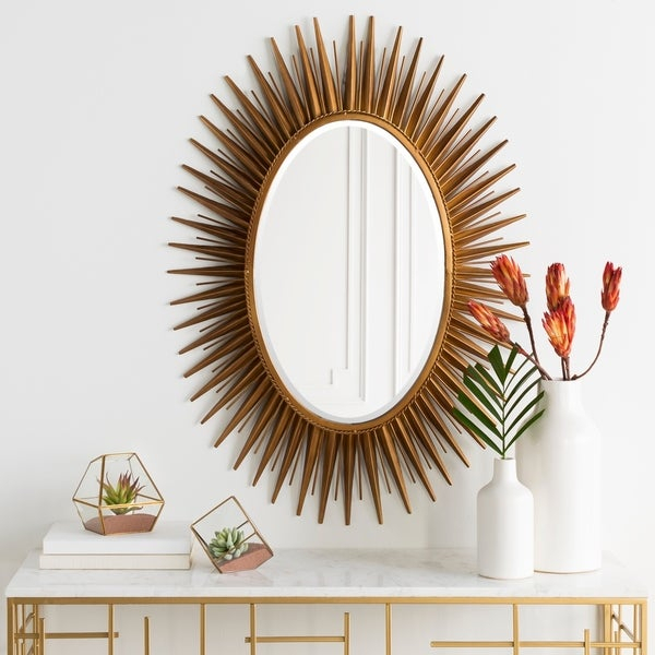 """Haley Sunburst Oval Accent Mirror – 30"""" X 42"""" – Antique Gold – 30"""" X 42"""" Throughout Oval Metallic Accent Mirrors (#5 of 20)"""