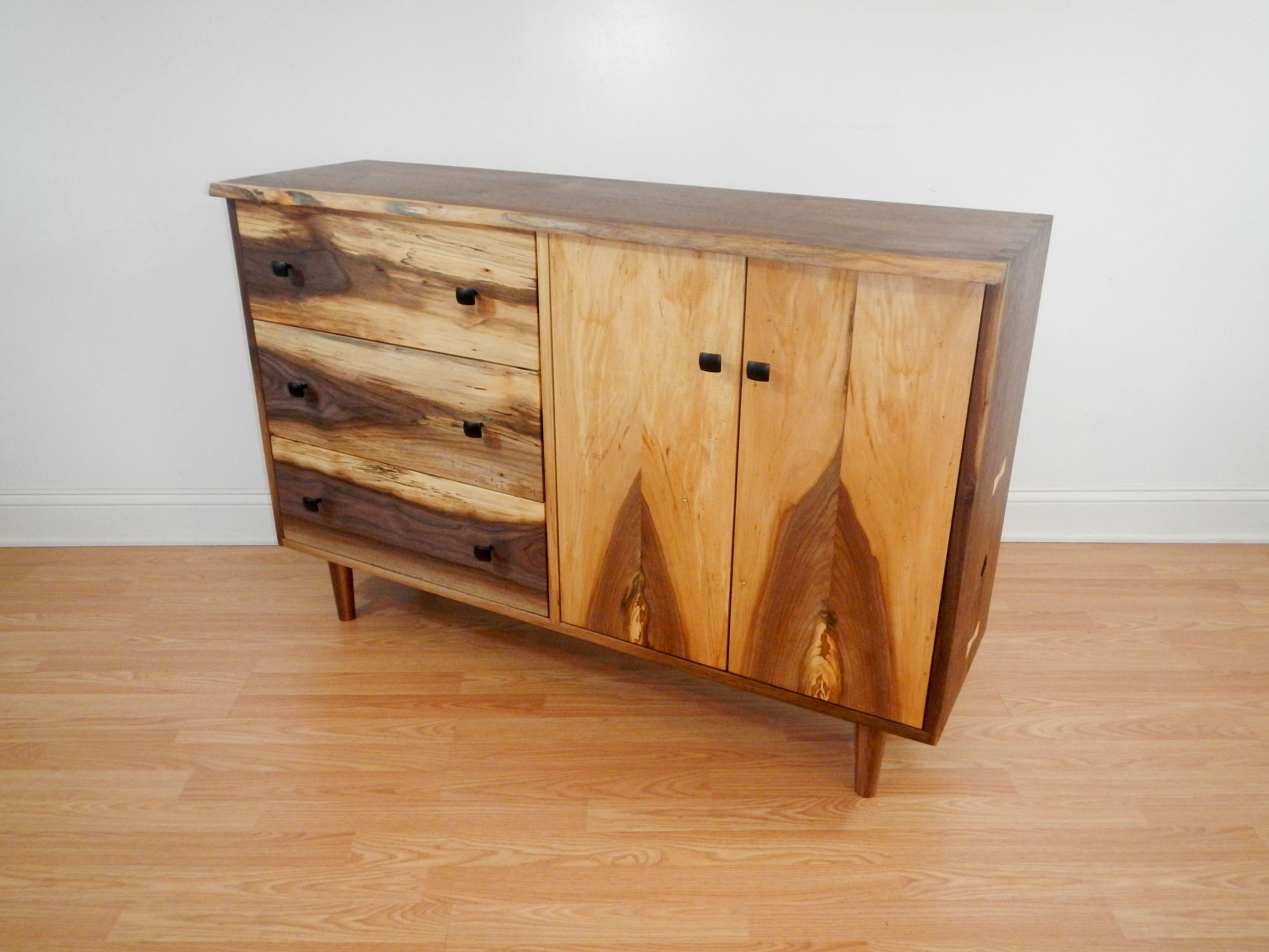 Hand Crafted Mid Century Modern Style Credenza With Hand Cut Inside Best And Newest Stephen Credenzas (View 8 of 20)