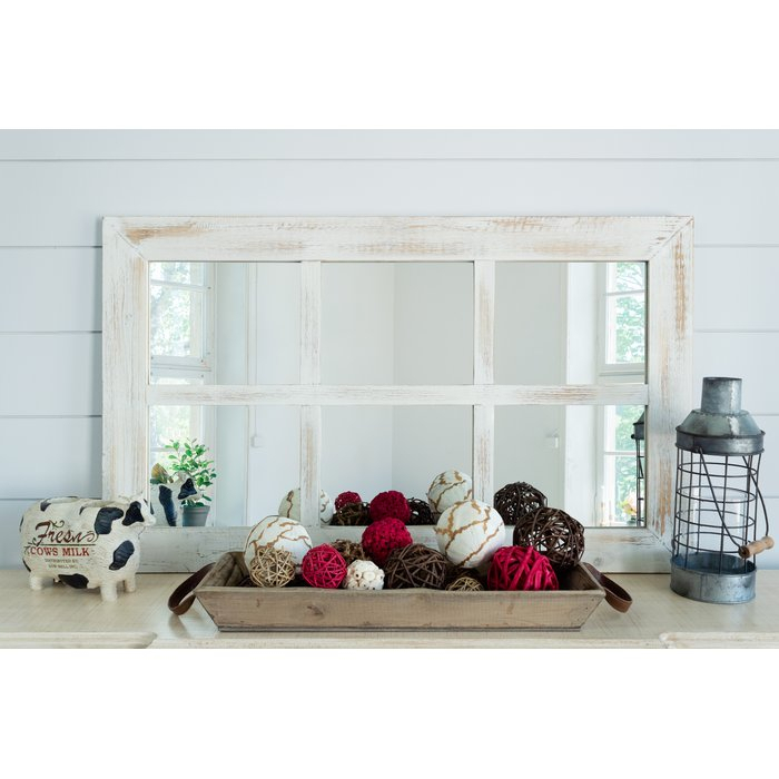 Harr Rustic Windowpane Accent Mirror Pertaining To 2 Piece Kissena Window Pane Accent Mirror Sets (#14 of 20)