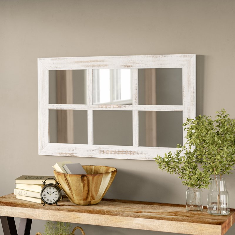 Harr Rustic Windowpane Accent Mirror Pertaining To 2 Piece Kissena Window Pane Accent Mirror Sets (#13 of 20)