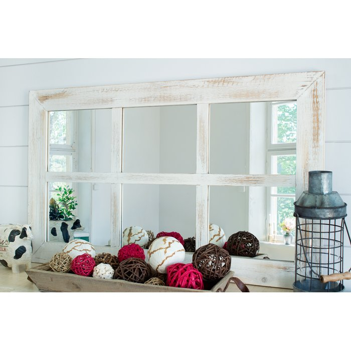 Harr Rustic Windowpane Accent Mirror With Regard To 2 Piece Kissena Window Pane Accent Mirror Sets (#15 of 20)