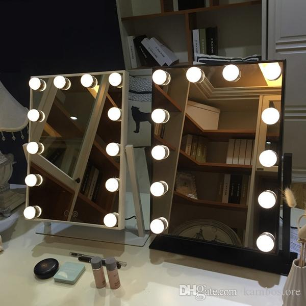 Hollywood Style Makeup Cosmetic Mirrors With Lights Lighted Vanity Mirror  With 9X3W Dimmable Led Bulbs And Touch Control Design(Black,white) Inside Vanity Mirrors (#9 of 20)
