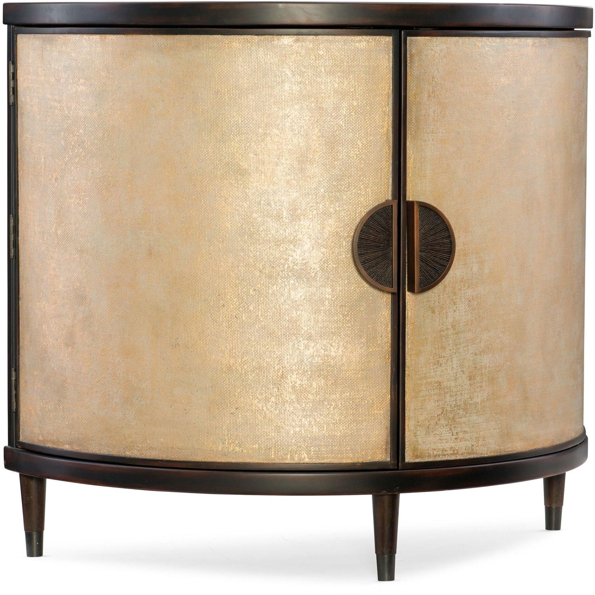 """Hooker Furniture 638 85314 Gld 42 1/4"""" Wide Hardwood Cabinet From The Melange – Em Demilune Collection – Black And Shimmer Cream For Most Popular Melange Brockton Sideboards (View 17 of 20)"""