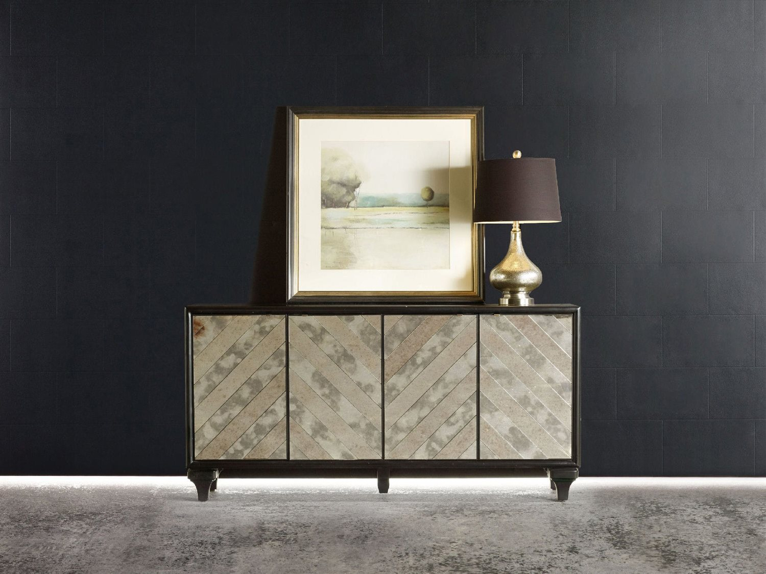 Hooker Furniture Melange Black 68''l X 18''w Rectangular Mirrored Angle Console Buffet Intended For Most Current Melange Brockton Sideboards (View 15 of 20)