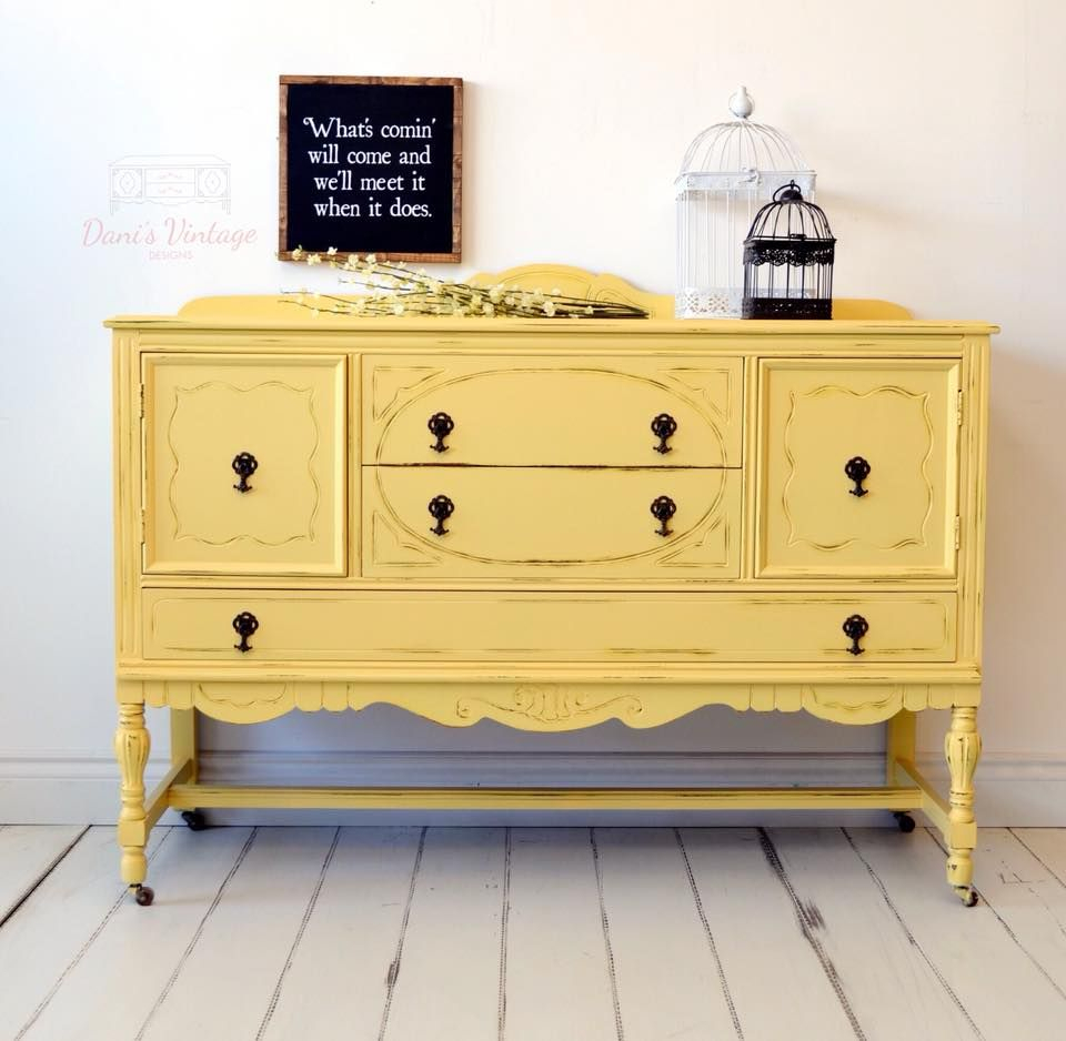 I Love This Vibrantly Painted Yellow / Mustard Antique Intended For 2018 Joyner Sideboards (View 13 of 20)