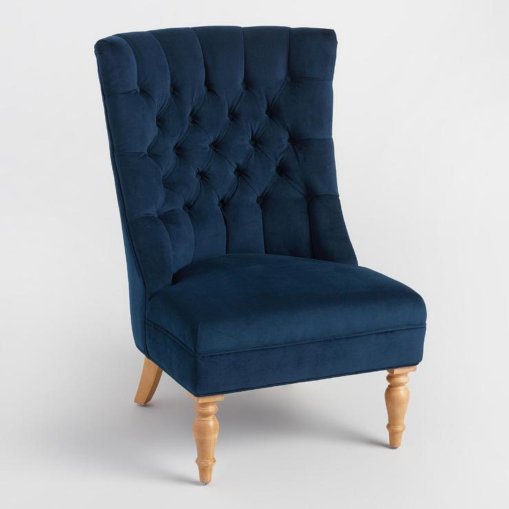 Ink Blue Velvet Juliana Tufted Accent Chair Pertaining To Juliana Accent Mirrors (View 4 of 20)