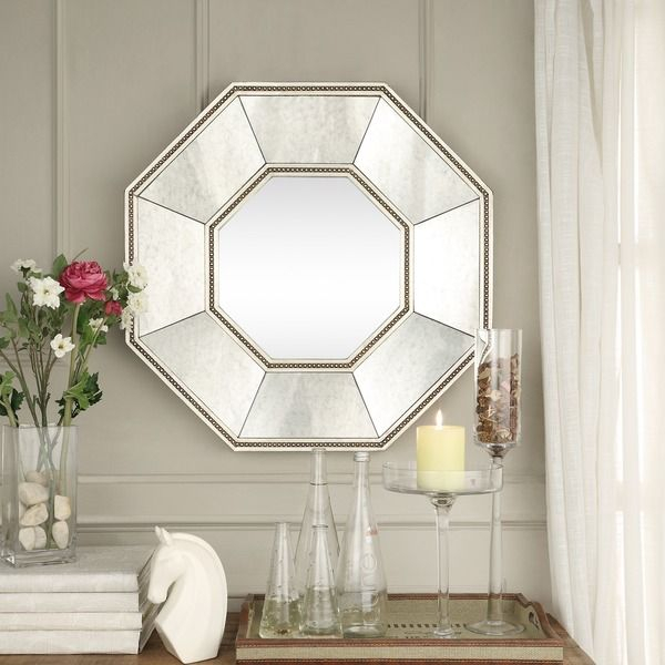 Inspire Q Faceted Beveled Beaded Trim Octagon Accent Wall With Beaded Accent Wall Mirrors (#14 of 20)