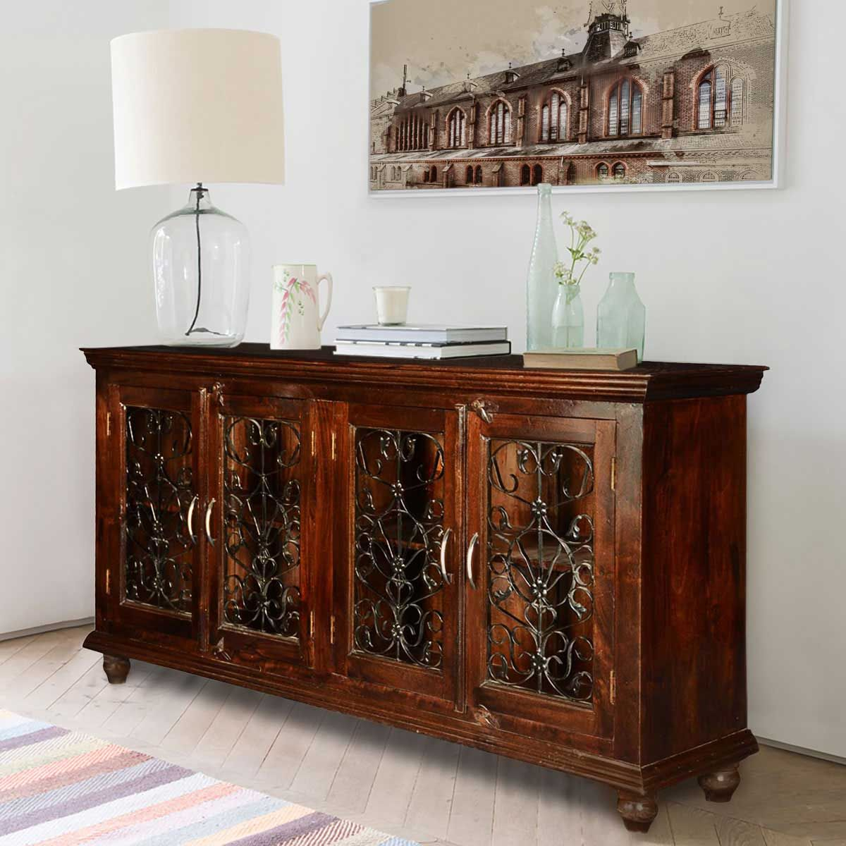 Inspiration about Italian Classic Mango Wood Iron Grille Door Large Buffet Inside Current Kronburgh Sideboards (#8 of 20)