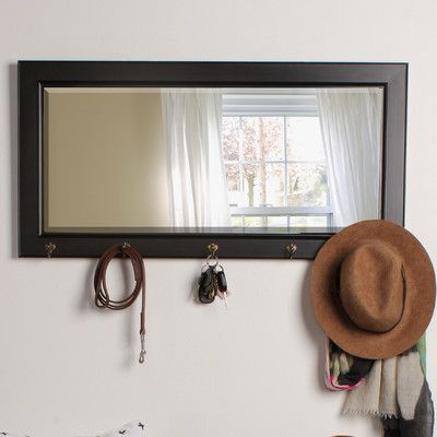 Kate And Laurel Pub Mirror Finish: Black | Products Within Hallas Wall Organizer Mirrors (View 17 of 20)