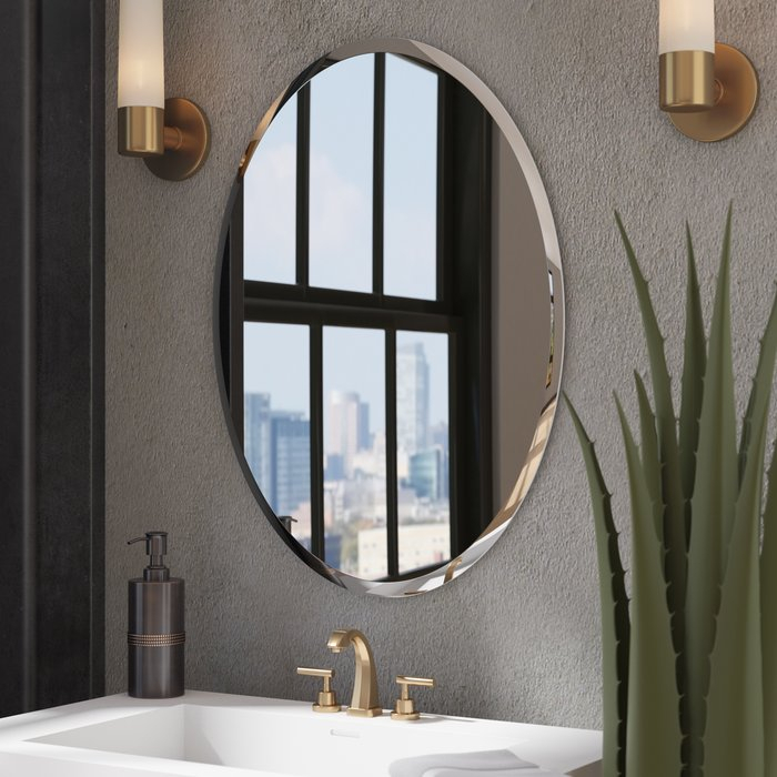Kayden Bathroom Mirror With Estefania Frameless Wall Mirrors (#20 of 20)