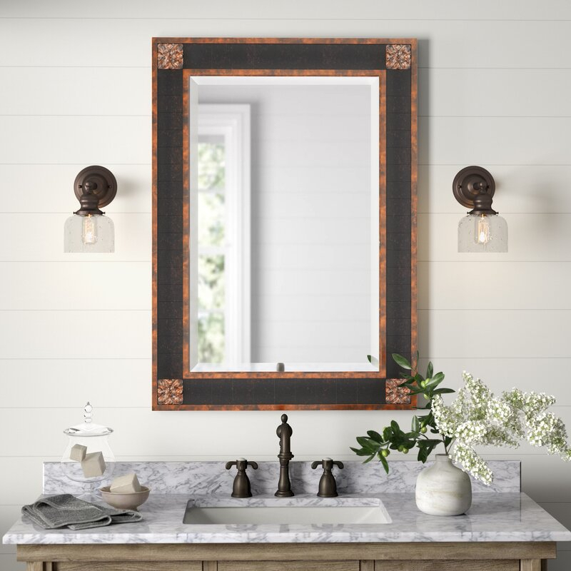 Popular Photo of Kristy Rectangular Beveled Vanity Mirrors In Distressed