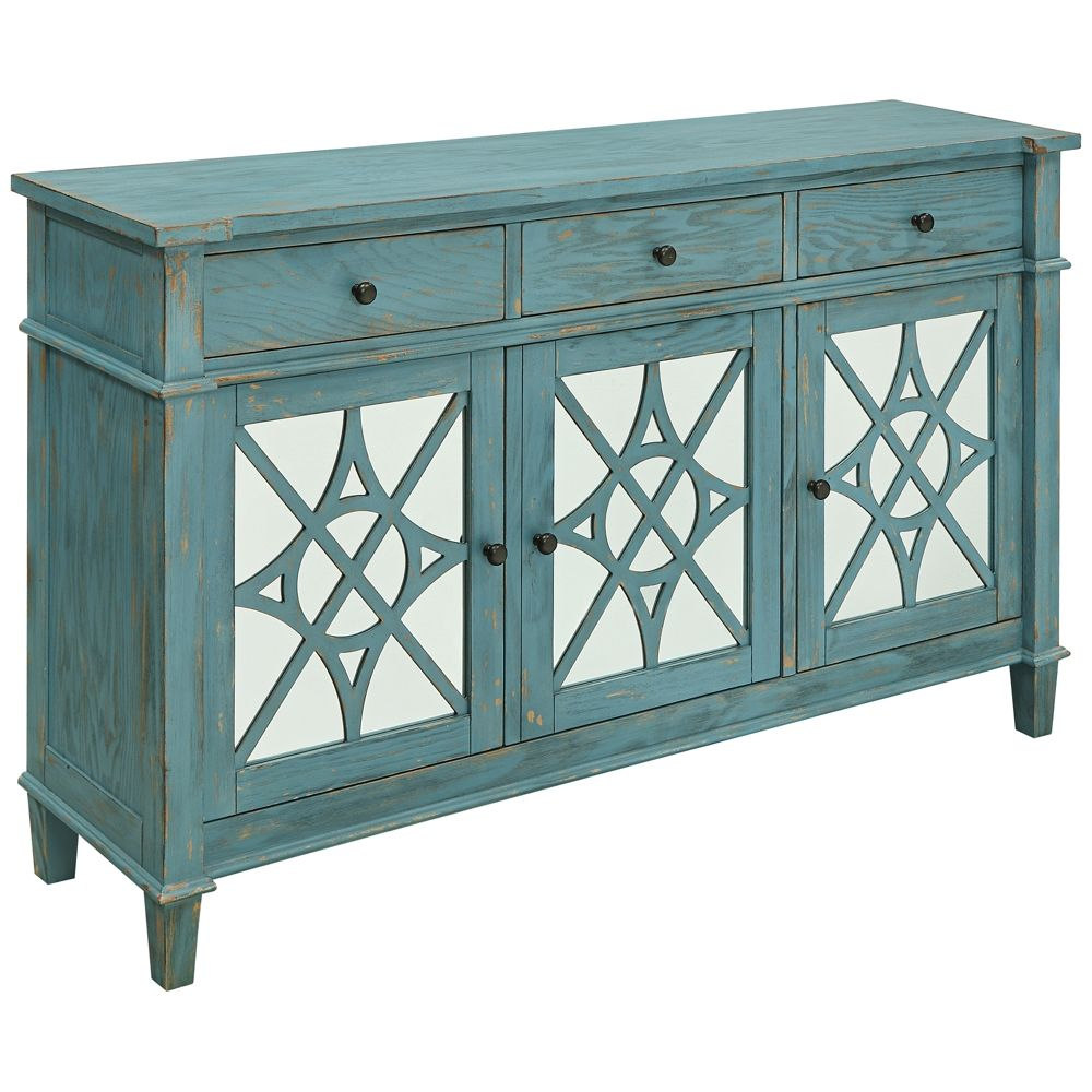 Kyla Blue Skies Rub Wood 3 Drawer 3 Door Media Credenza Within Most Recent Mauldin Sideboards (View 20 of 20)