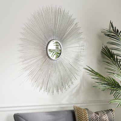 Langley Street Jarrod Sunburst Accent Mirror Finish: Silver Regarding Jarrod Sunburst Accent Mirrors (#15 of 20)