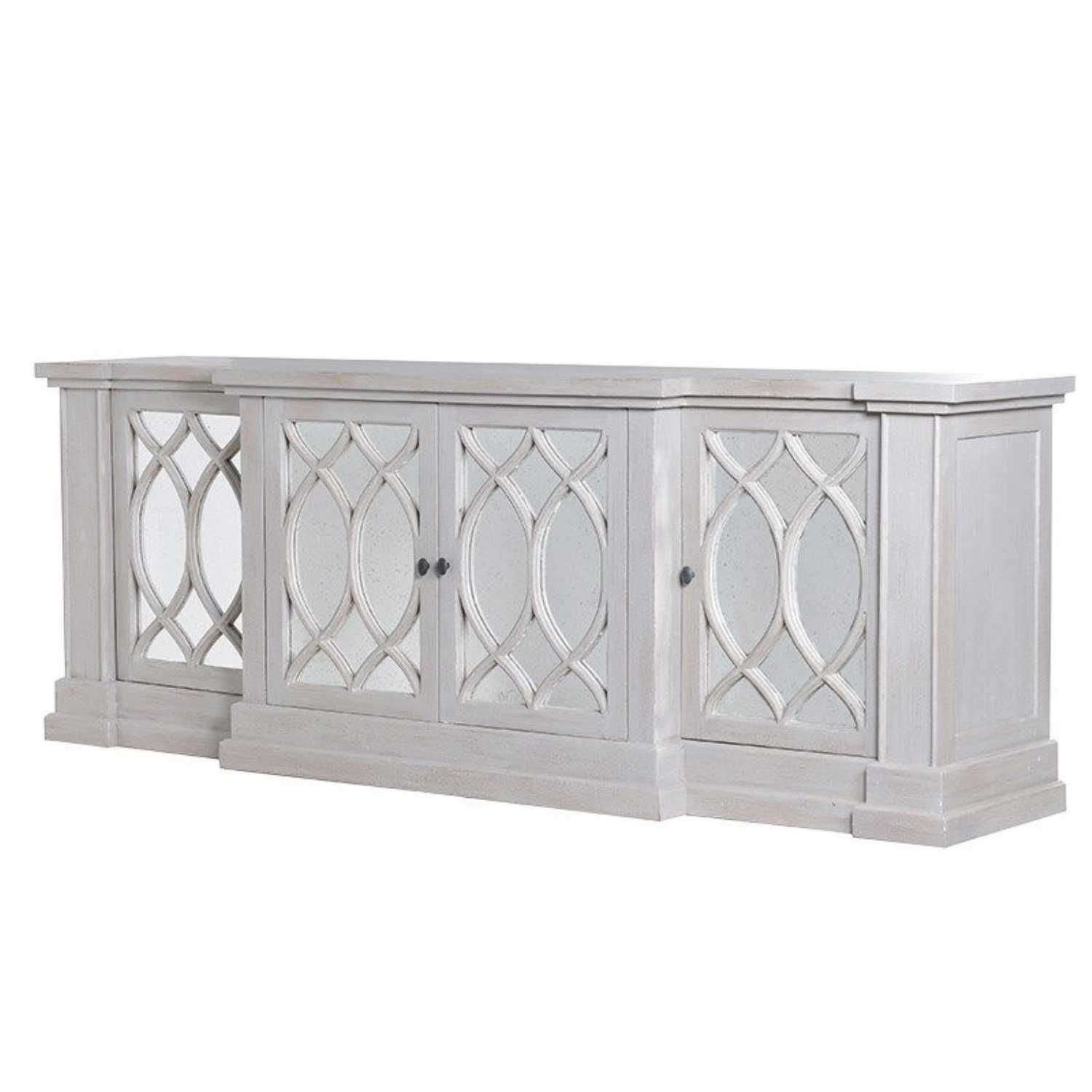 Large 4 Door Mirrored Glass Decorative Sideboard Storage With Regard To Current Tott And Eling Sideboards (#9 of 20)