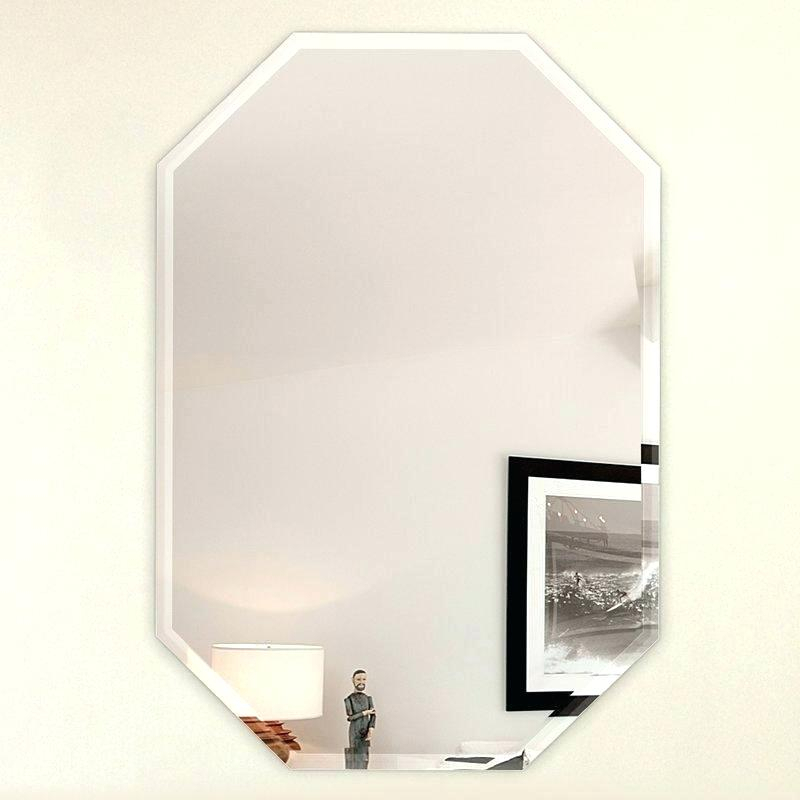 Large Frameless Wall Mirror Octagon With 3 Hooks Beveled X In Wallingford Large Frameless Wall Mirrors (#9 of 20)
