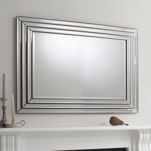 Inspiration about Large Glass Framed Mirror With Bronze 117 X 87Cm Throughout Caja Rectangle Glass Frame Wall Mirrors (#11 of 20)