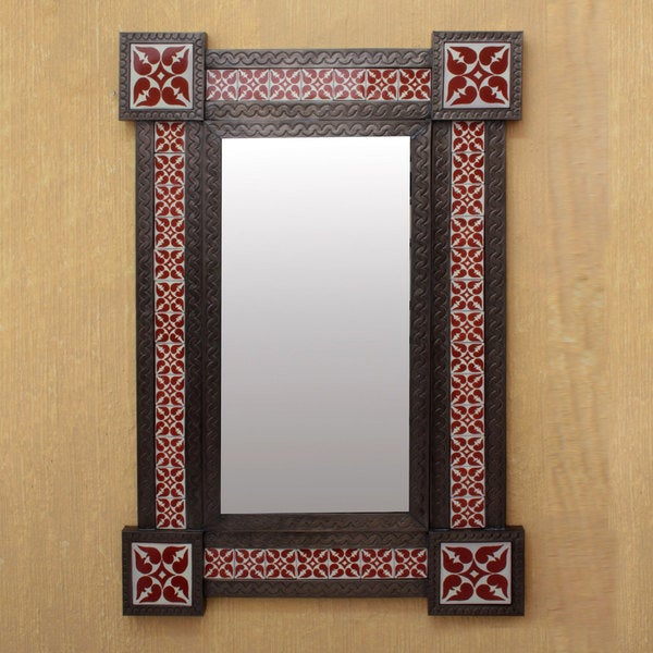 Large Mexican Hand Worked Tin Framed Wall Mirror Crafted Floral Throughout Eriq Framed Wall Mirrors (#16 of 20)