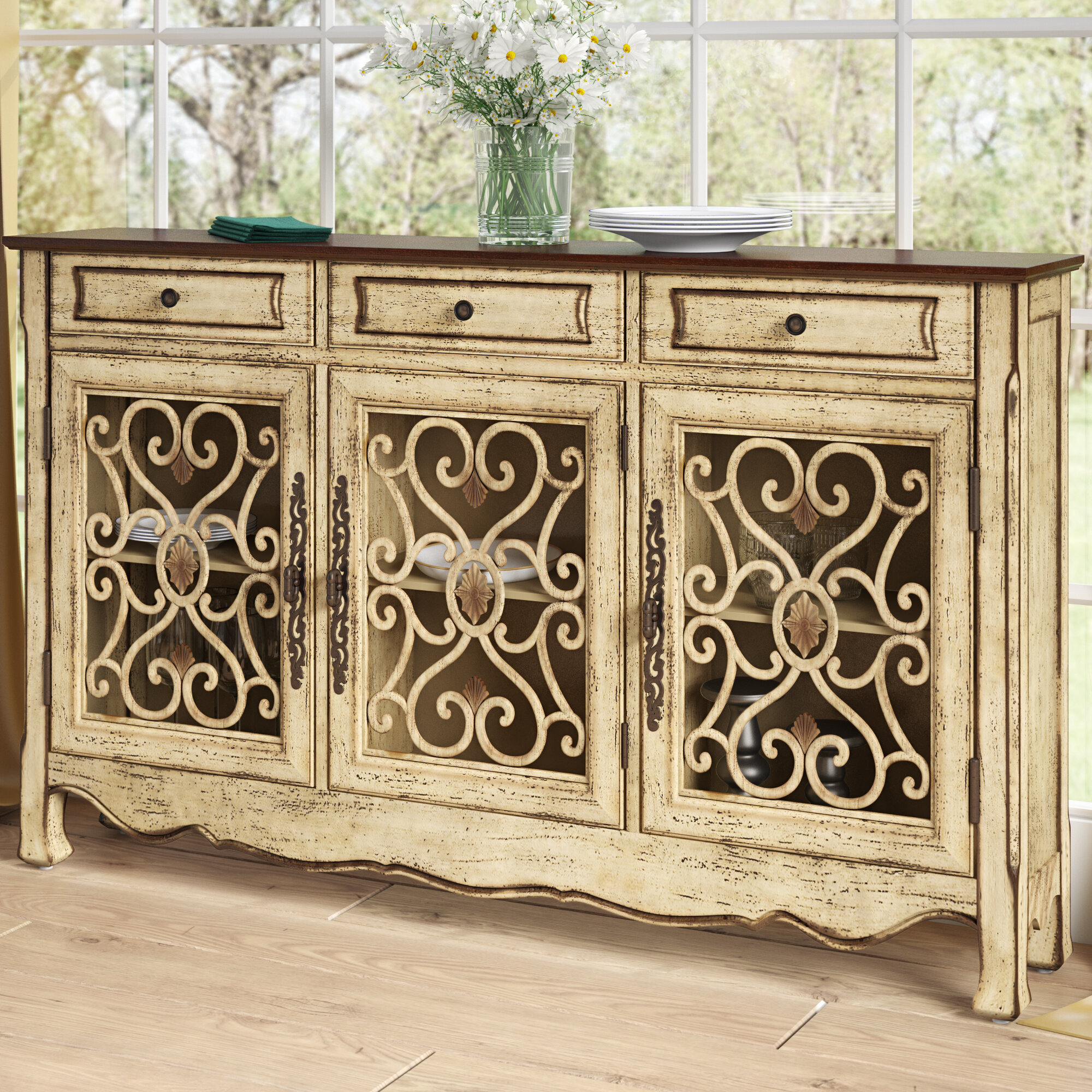 Lark Manor Mauzy Sideboard & Reviews | Wayfair For Newest Ilyan Traditional Wood Sideboards (#14 of 20)
