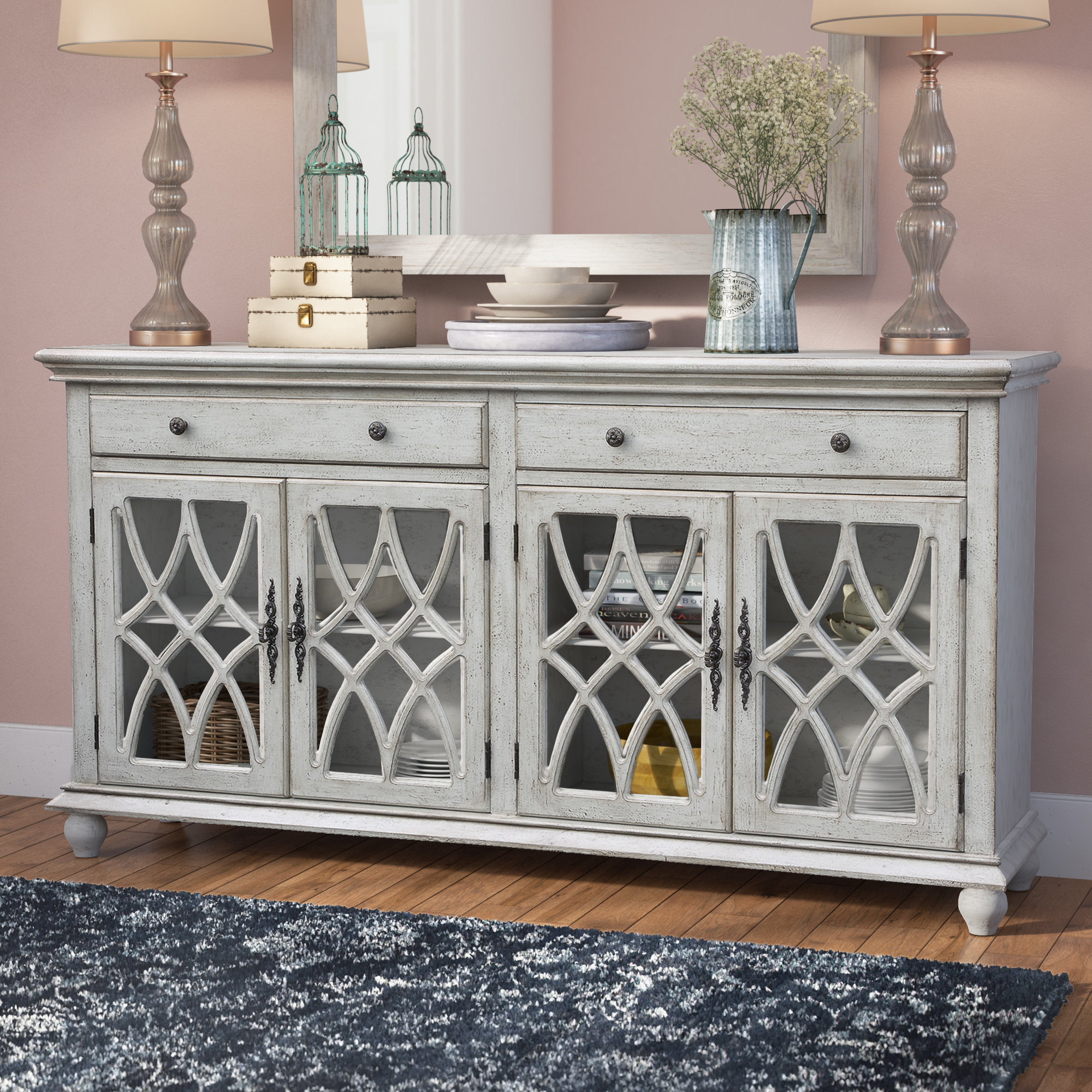 Lark Manor Raquette Sideboard & Reviews | Wayfair Regarding Most Popular Raquette Sideboards (#10 of 20)