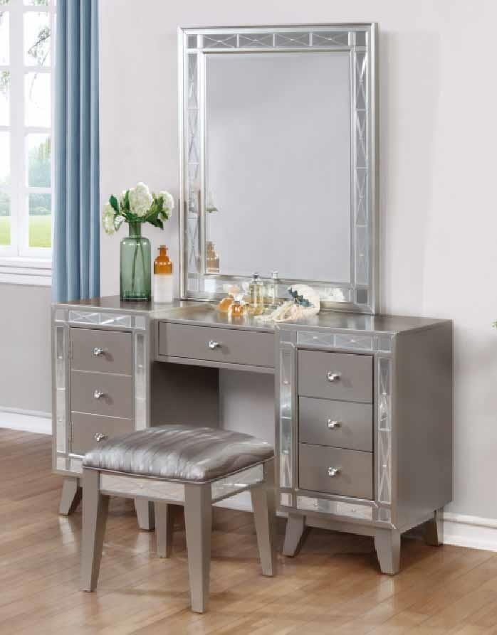 Leighton Collection – Leighton Contemporary Vanity Desk And Stool With Regard To Vanity Mirrors (#14 of 20)