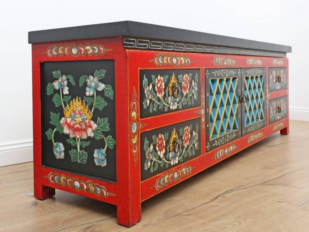 Lowboard Aus Tibet – Handbemalt Mit 5 Türen | Yajutang Pertaining To Recent Cher Sideboards (View 7 of 20)