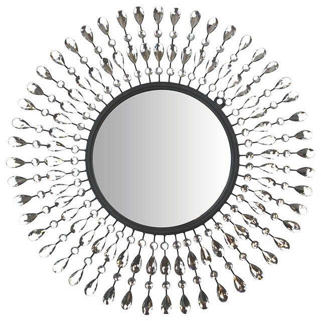 "Lulu Decor, Pearl Drop Wall Mirror, Metal Wall Mirror, 25"" Frame With Regard To Traditional Metal Wall Mirrors (#5 of 20)"